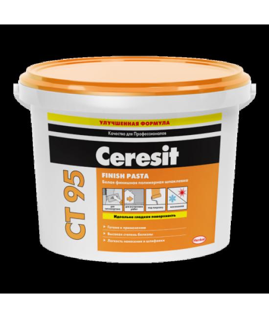 Готовая белая финишная полимерная шпаклевка Ceresit CT 95 Finish Pasta, 25 кг