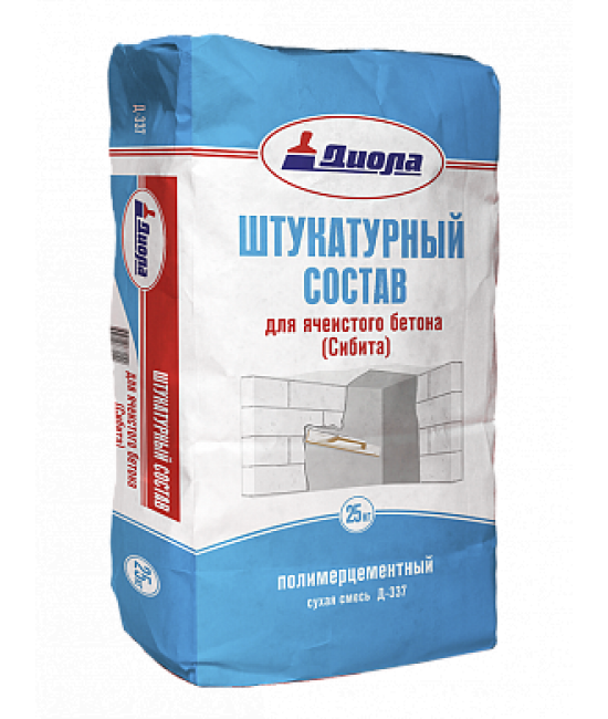 """Штукатурный состав для ячеистого бетона полимерцементный """"Диола-337"""""""